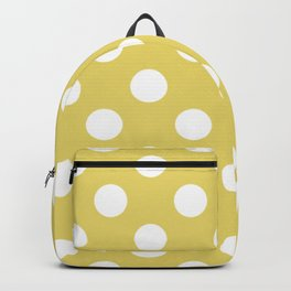 Hansa yellow - beige - White Polka Dots - Pois Pattern Backpack