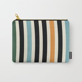 Raincore - Mid Century Modern Rainbow Retro Lines Abstract Pattern - Blue Yellow Green Red Black Carry-All Pouch
