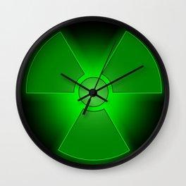 Funny green glowing radioactivity symbol Wall Clock
