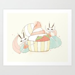 Bunny In Tutu: frozen yoghurt Art Print