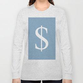 dollar sign on placid blue color background Long Sleeve T-shirt