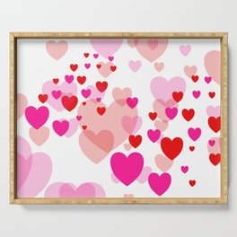 Flying Hearts pink red color Serving Tray