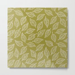 Dark Leaf Pattern - Green Metal Print