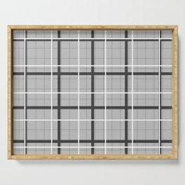 grid check layer_black, white Serving Tray