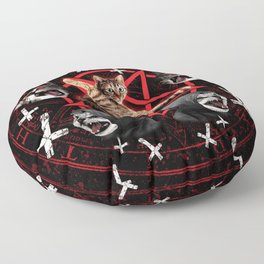 satanic cat pentagram death black metal band exorcist Floor Pillow