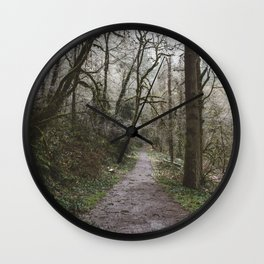 Frosty Forest Path Wall Clock