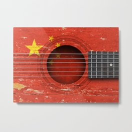Old Vintage Acoustic Guitar with Chinese Flag Metal Print