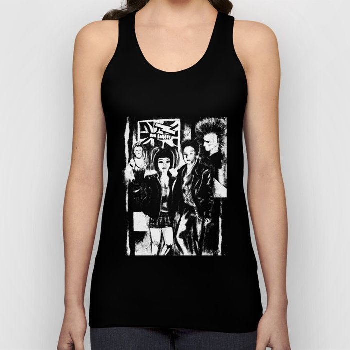 Alternative fashion and leather jacket style at the club Unisex Tank Top