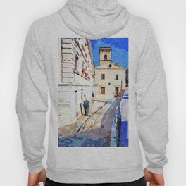 Borrello: foreshortening with man and church Hoody