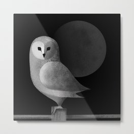Barn Owl Full Moon Metal Print