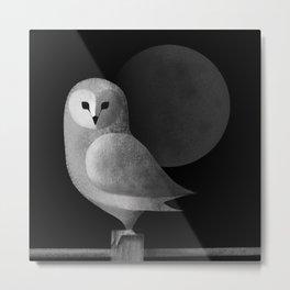 Barn Owl Full Moon Metal Print