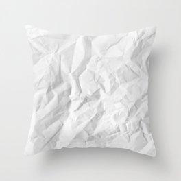 WRINKLED WHITE PAPER SHEET Throw Pillow