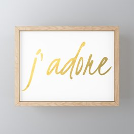 J'adore in Gold Framed Mini Art Print