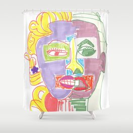 Crazy Face Mo Shower Curtain