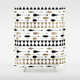 Elegant black faux gold bohemian arrows feathers pattern Shower Curtain