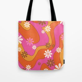 Groovy 60's and 70's Flower Power Pattern Tote Bag
