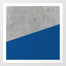 Concrete and Lapis Blue Color Art Print