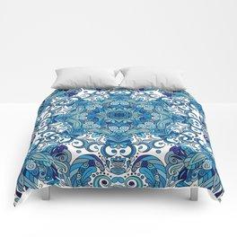 Blue Boho Mandela Pattern Comforters