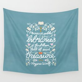 Virginia Woolf Library Literature Quote - Book Nerd Wall Tapestry