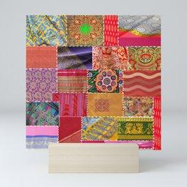 Boho Sari Patchwork Quilt Mini Art Print
