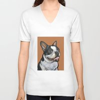 snoopy V-neck T-shirts featuring Snoopy the Boston Terrier by Pawblo Picasso