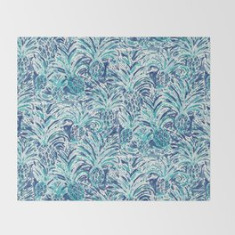 PINEAPPLE WAVE Blue Painterly Watercolor Throw Blanket