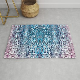 snake skin ombre in teal and burgundy Rug