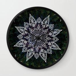 Rising Soul Mandala Design White Blue Green Wall Clock
