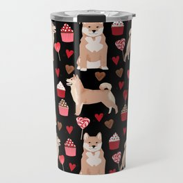 Shiba Inu dog breed love cupcakes hearts valentines day pet gifts Shiba inus Travel Mug
