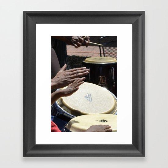 playing bongos Framed Art Print