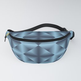 Blue diamond pattern on neon grid Fanny Pack