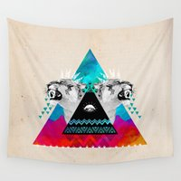 fierce Wall Tapestries featuring Fierce Lion by Kangarui