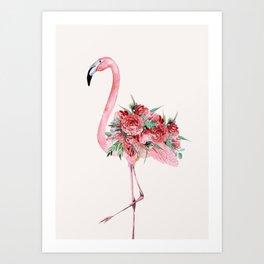 Flamingo Floral Art Print