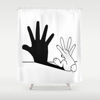 comics Shower Curtains featuring Rabbit Hand Shadow by Mobii
