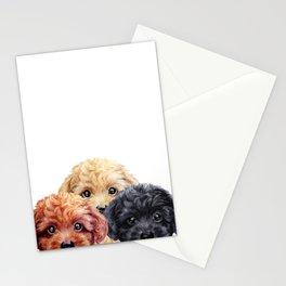Toy poodle trio, Dog illustration original painting print Stationery Cards