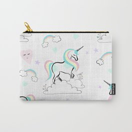 Standing tall Unicorn on cloud and heart pattern Carry-All Pouch