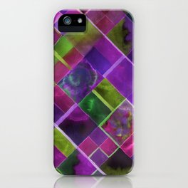 Geometric Watercolor Green and Purple iPhone Case