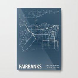 Fairbanks Blueprint Street Map, Fairbanks Colour Map Prints Metal Print