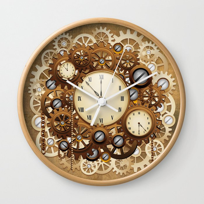 Steampunk Vintage Style Clocks And Gears Wall Clock