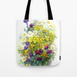 Watercolor meadow flowers Tote Bag