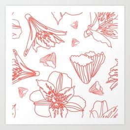 Pink Lily Flower Pattern on White Art Print