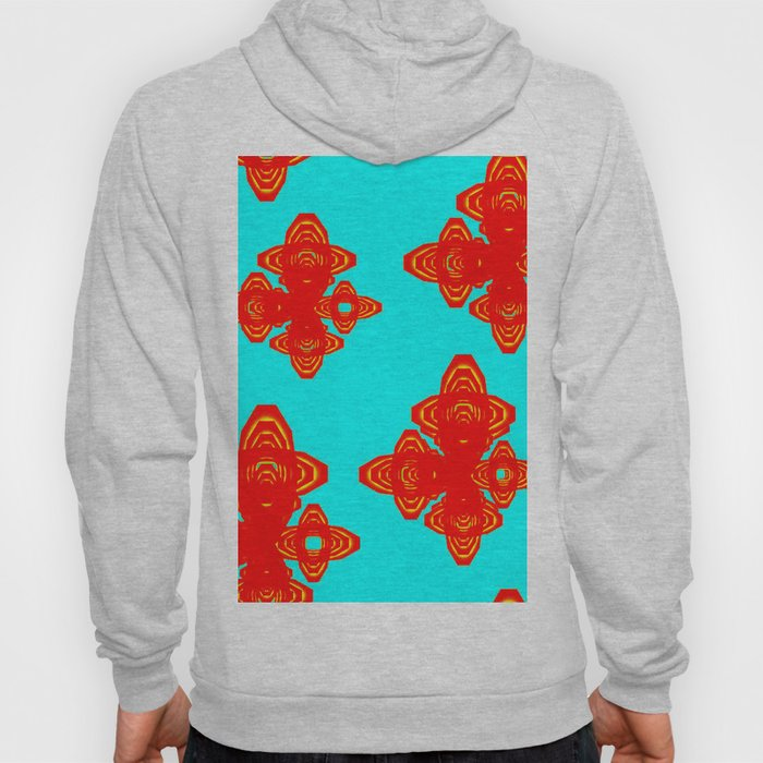 Retro Red Decorative Shapes on Turq Background Hoody
