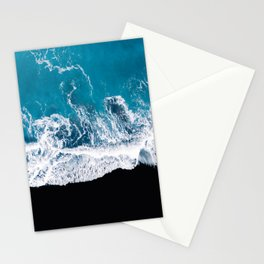 Black sand beach with waves and blue Ocean in Iceland – Minimal Photography Stationery Cards