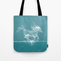 horse Tote Bags featuring The Water Horse by Paula Belle Flores