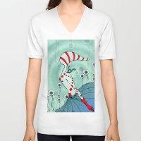 flight V-neck T-shirts featuring flight by DanilaTrubarova