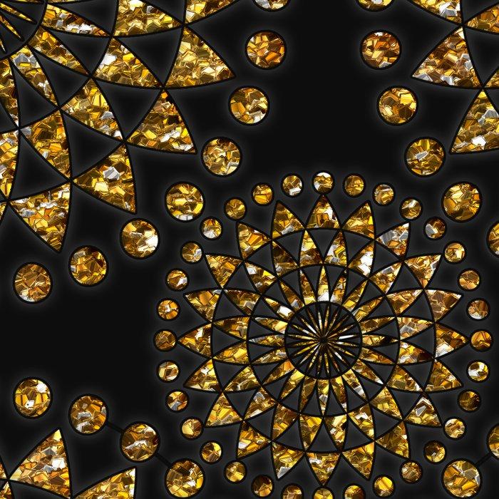 Gold glamour faux glitter ornament shimmering black Leggings