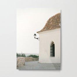 "Travel photography ""Ibiza white"" | Modern wall art Ibiza Spain coast white tones sunset Metal Print"