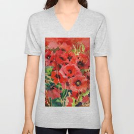 Red Poppies red floral pattersn texture poppy flower design Unisex V-Neck