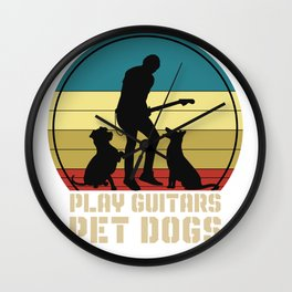 Guitar Vintage Pet Dogs Wall Clock