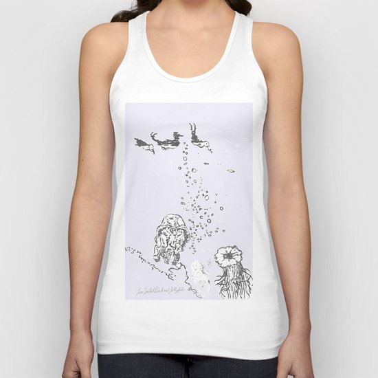 Two Tailed Duck and Jellyfish Lavender Unisex Tank Top